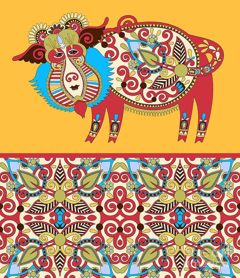 Ukrainian Digital Art - Unusual Ukrainian Traditional Tribal by Karakotsya