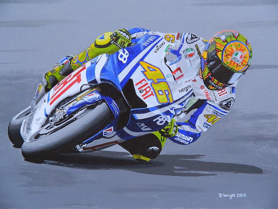 Valentino Rossi Painting by David Wright – Valentino Rossi Birthday Card