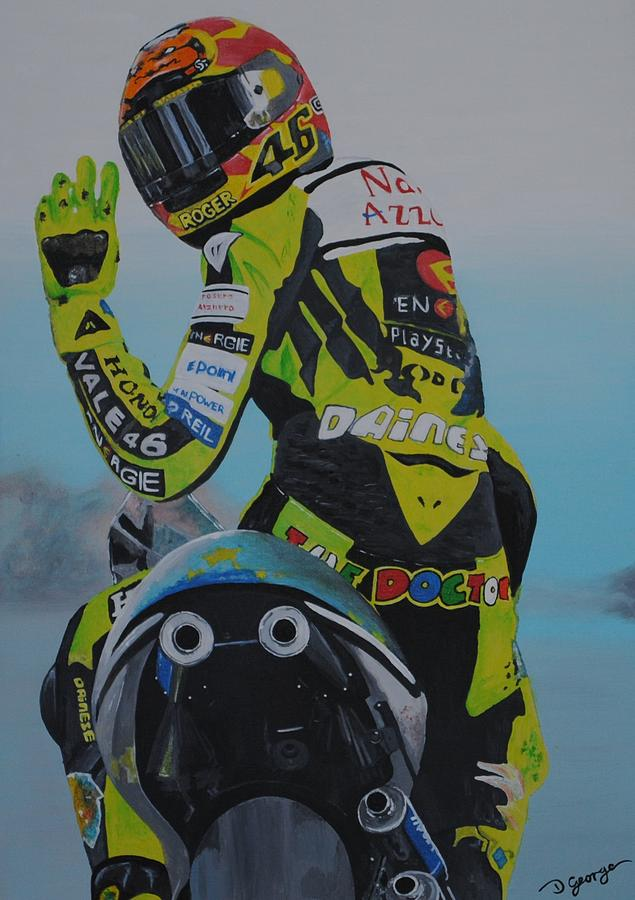 Rossi Painting by Desmond George – Valentino Rossi Birthday Card