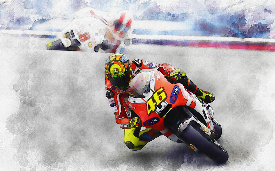 Valentino Rossi Leading The Way Digital Art by Don Kuing – Valentino Rossi Birthday Card