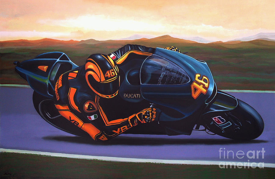 Valentino Rossi Painting - Valentino Rossi On Ducati by Paul Meijering