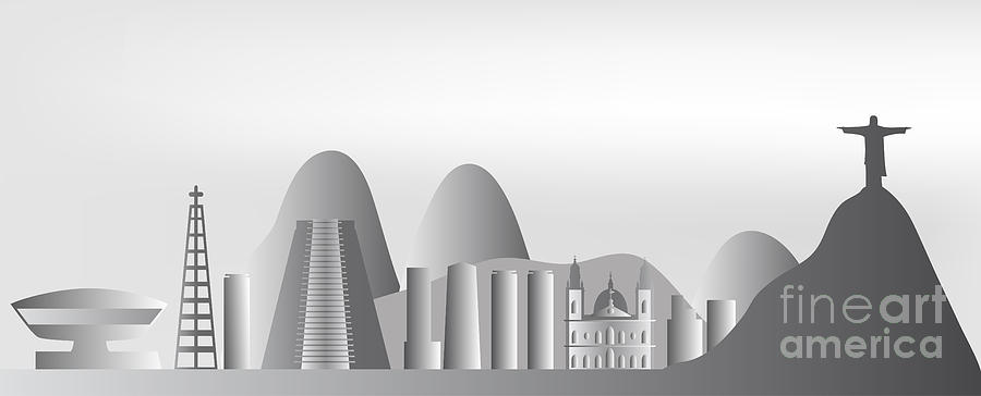 Background Digital Art - vector Rio de Janeiro skyline by Michal Boubin