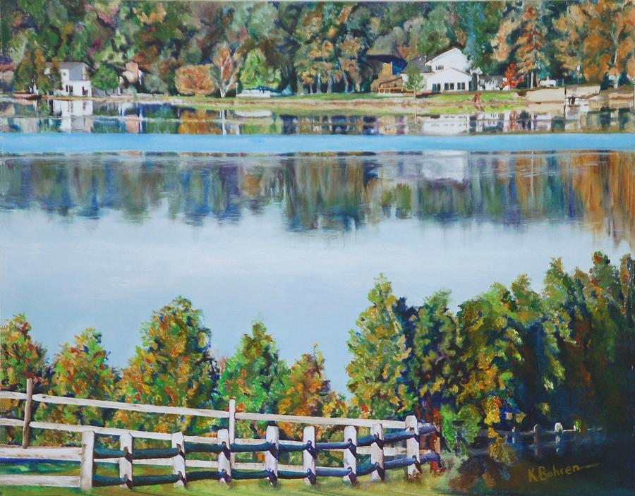 view at aurora lake painting by kay bohren. Black Bedroom Furniture Sets. Home Design Ideas