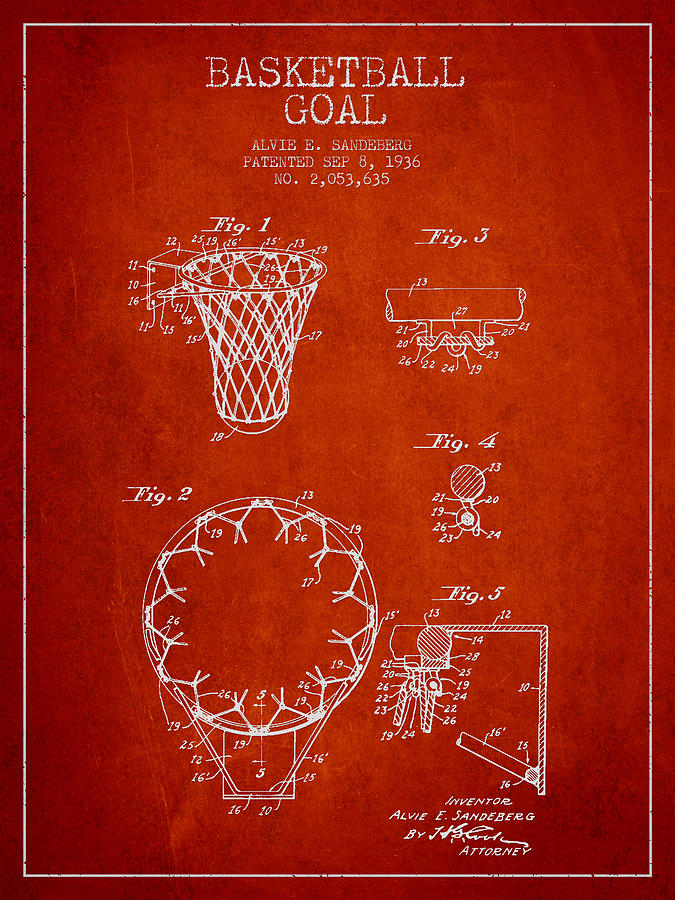Hoop Patent Digital Art - Vintage Basketball Goal Patent From 1936 by Aged Pixel