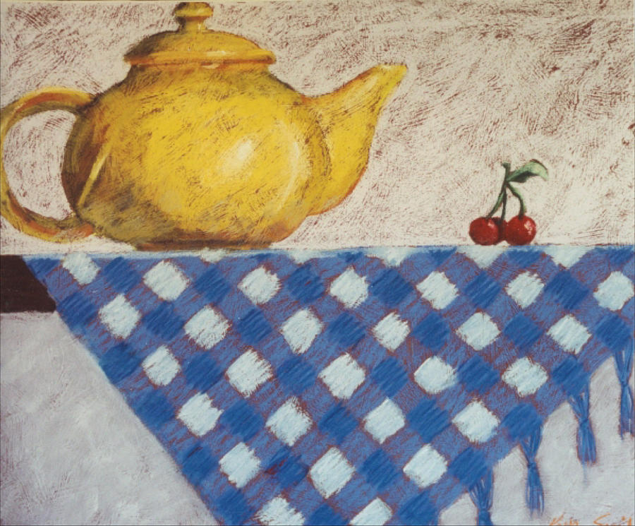Yellow Teapot Painting - Vintage Still Life Series by Kelley Smith