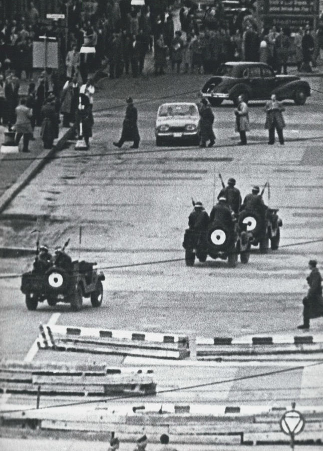 Retro Photograph - Volkspolice Tried To Hinder The American Traffic In Berlin by Retro Images Archive