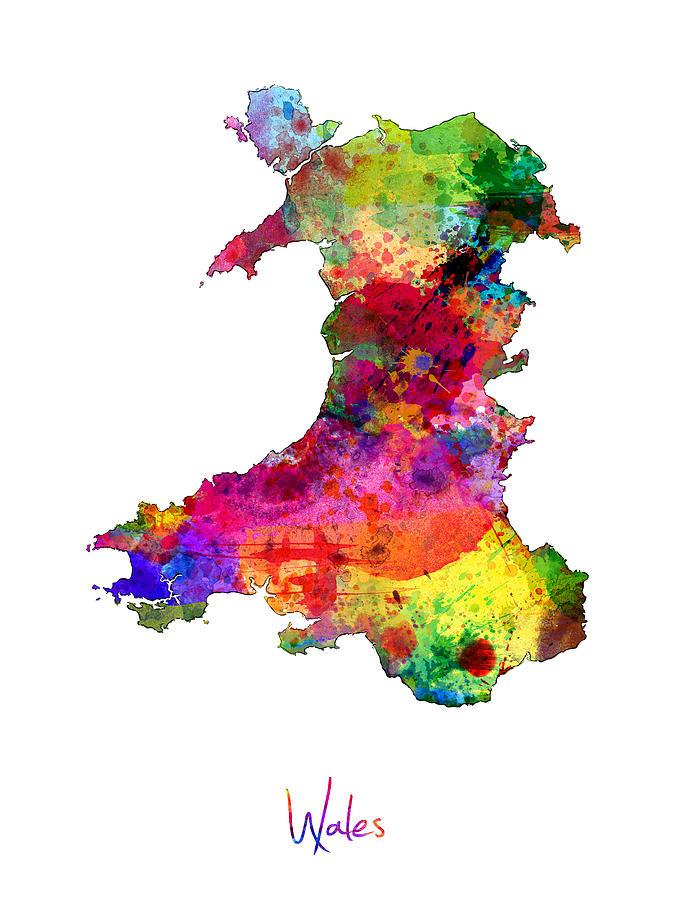 Wales Watercolor Map Digital Art by Michael Tompsett
