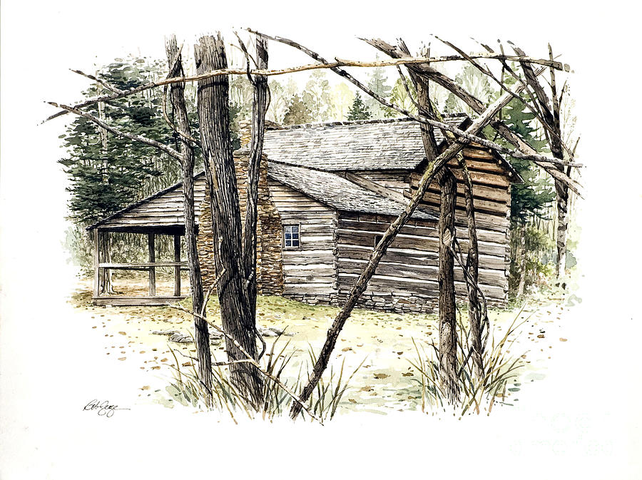 Landscape Painting - Walker Sisters Farm House by Bob  George