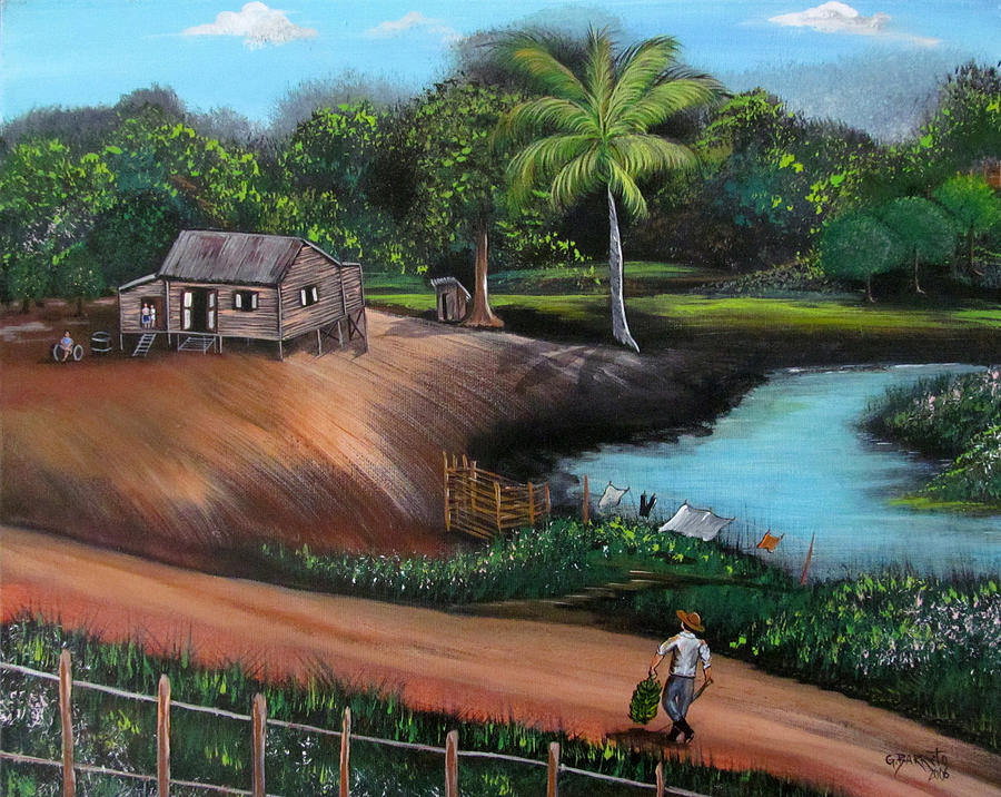 Tropical Landscape Painting - Walking Home by Gloria E Barreto-Rodriguez
