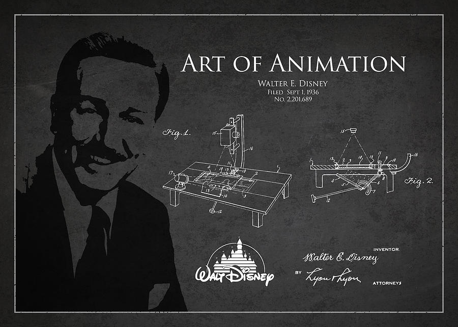 Walt Disney Drawing - Walt Disney Patent From 1936 by Aged Pixel