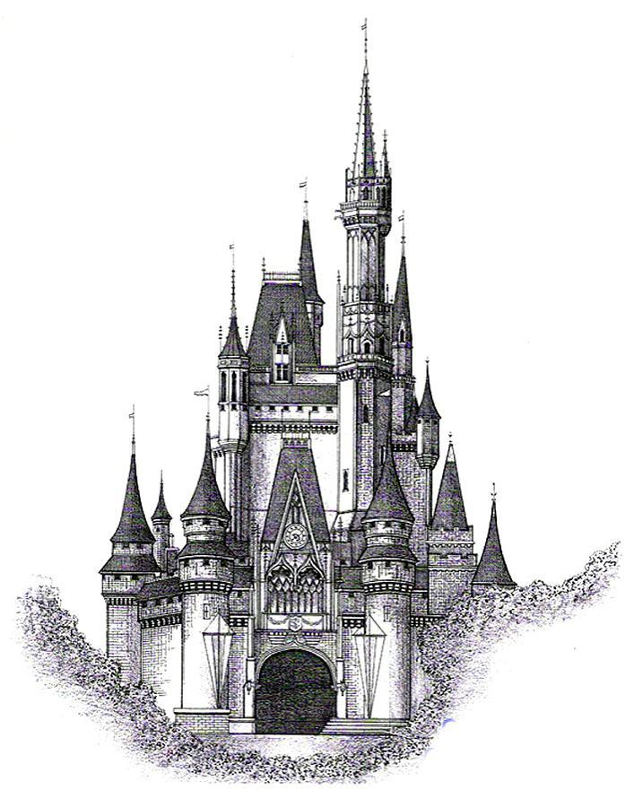 Architecture Drawing - Walt Disney World Cinderella Castle by Charles Ott