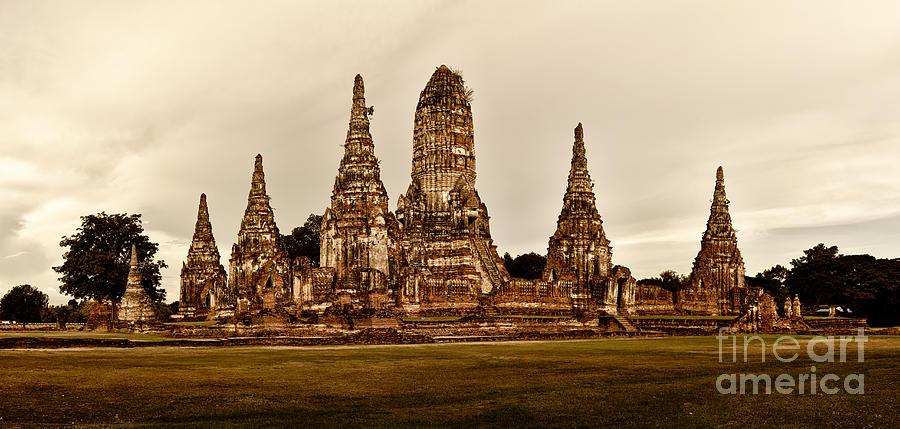 Ancient Photograph - Wat Chaiwatthanaram Ayutthaya  Thailand by Fototrav Print