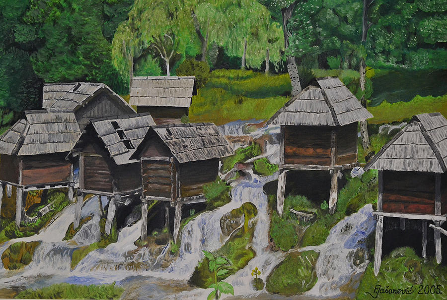 Watermill On Pliva Painting by Ferid Jasarevic