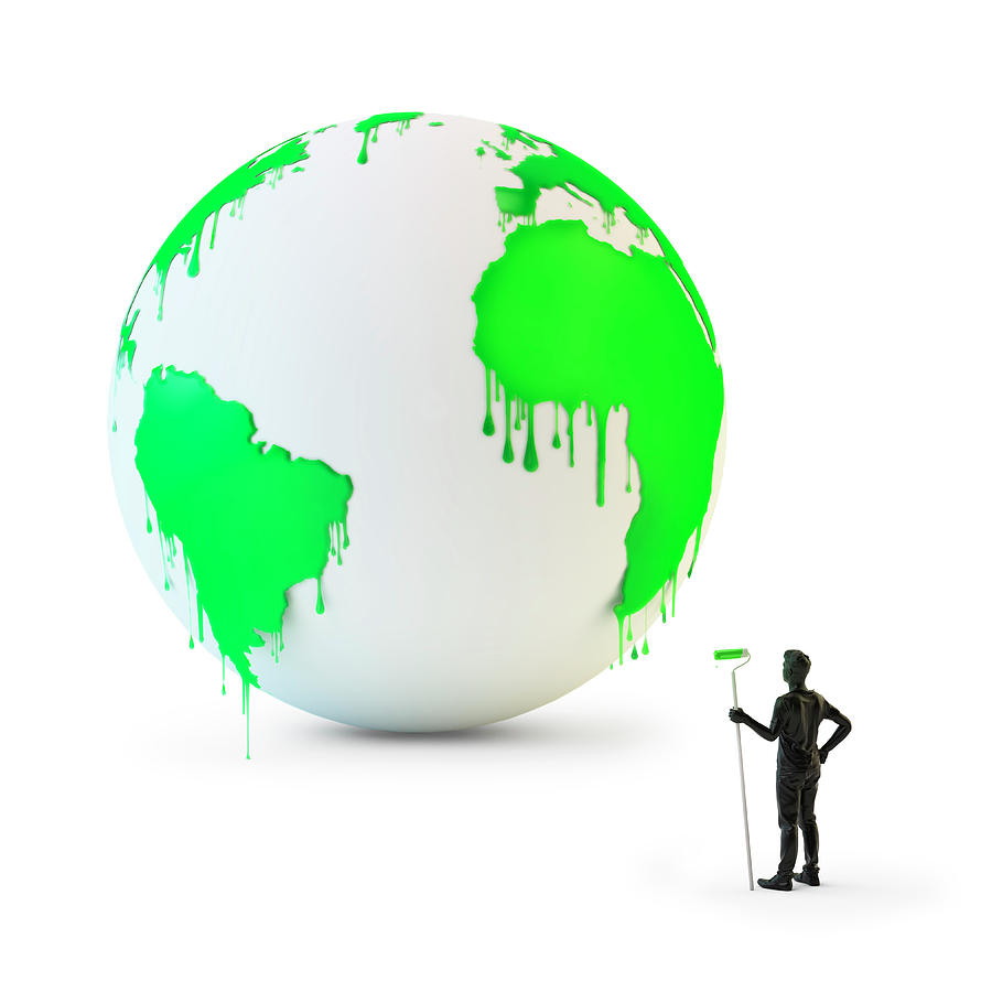 Artwork Photograph - Wet Green Paint Dripping From The Globe by Andrzej Wojcicki/science Photo Library