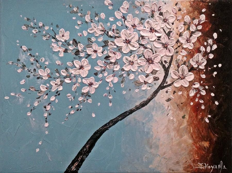 Abstract Painting - White Blossoms by Tomoko Koyama