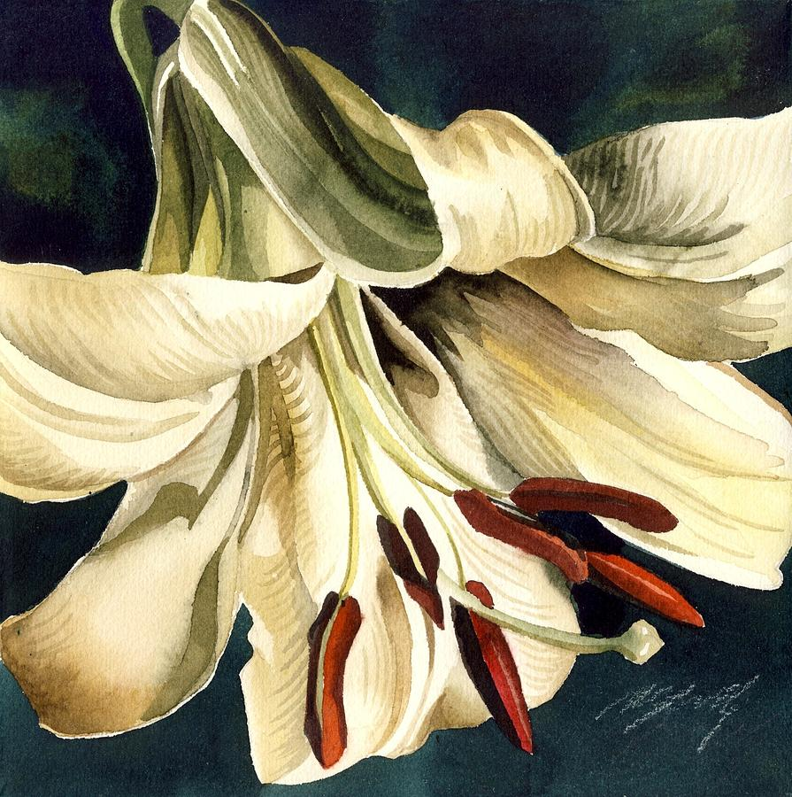 Garden Painting - White Lily by Alfred Ng