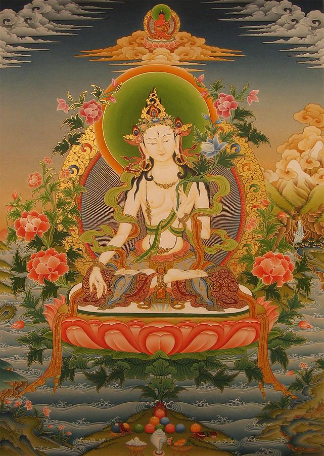 Tibetan Thangka Painting - White Tara by Art School