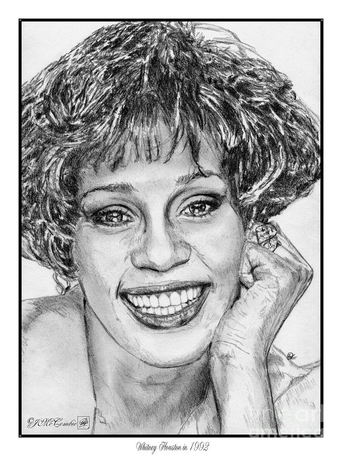 Jem Fine Arts Drawing - Whitney Houston In 1992 by J McCombie