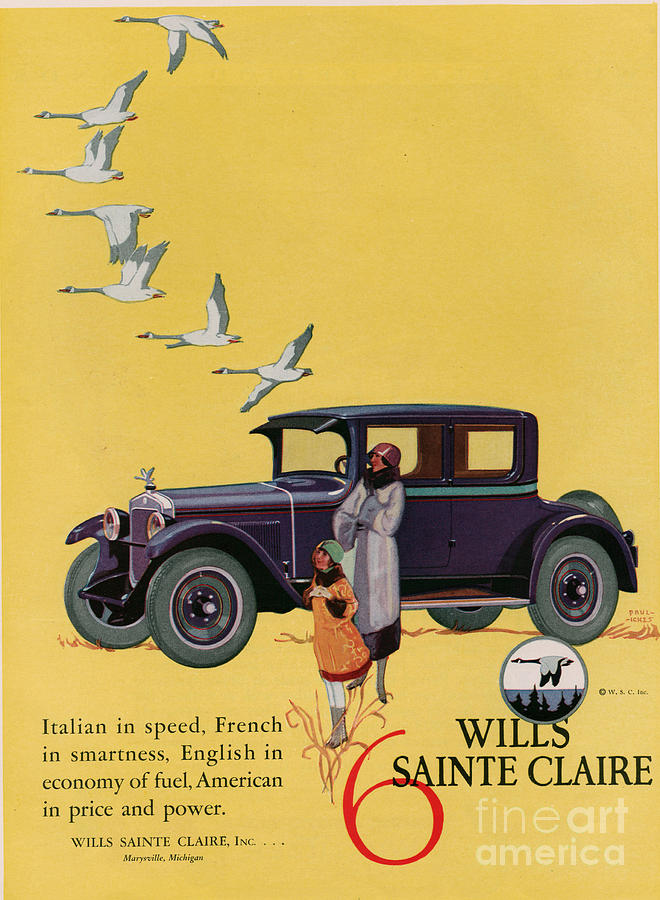 Adverts Drawing - Wills Sainte Claire 1925 1920s Usa Cc by The Advertising Archives