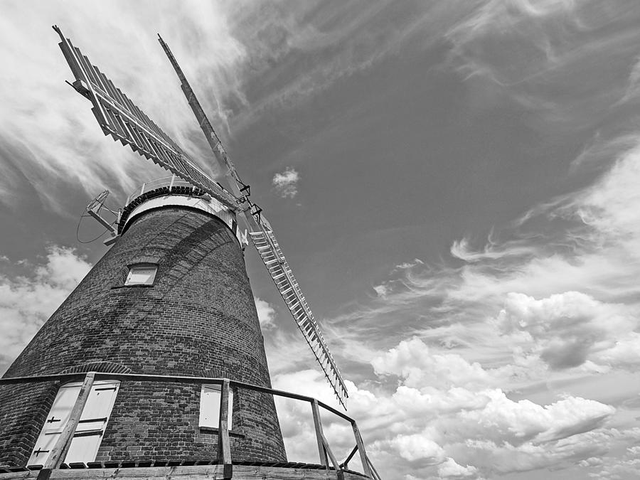Windmill Photograph - Windmill In The Sky In Black And White by Gill Billington