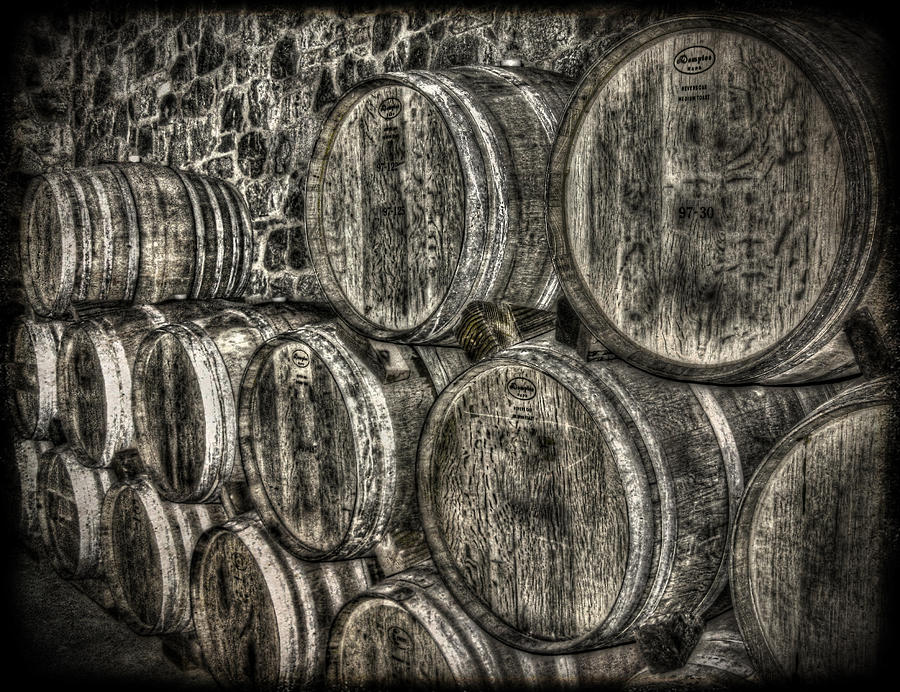 Black And White Photography Photograph - Wine Barrels by Deborah Knolle