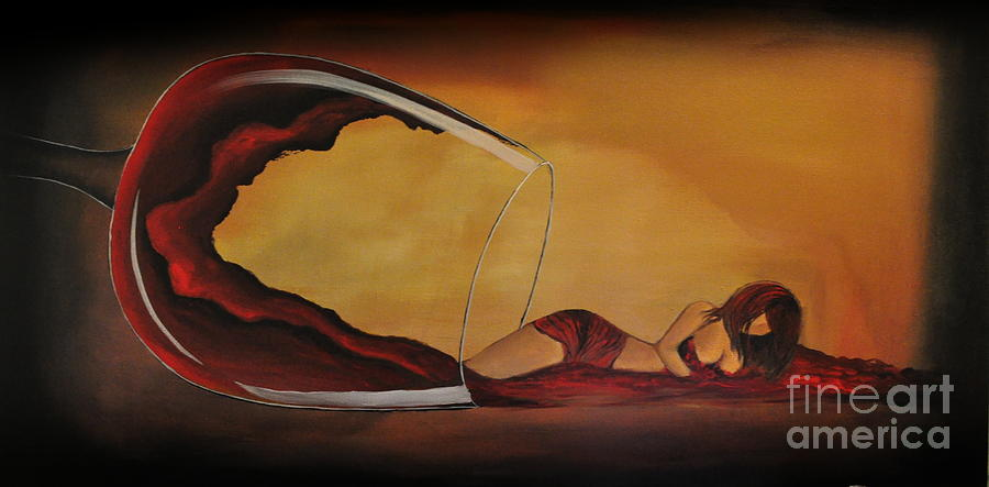 Wine Spilled Woman Painting By Preethi Mathialagan