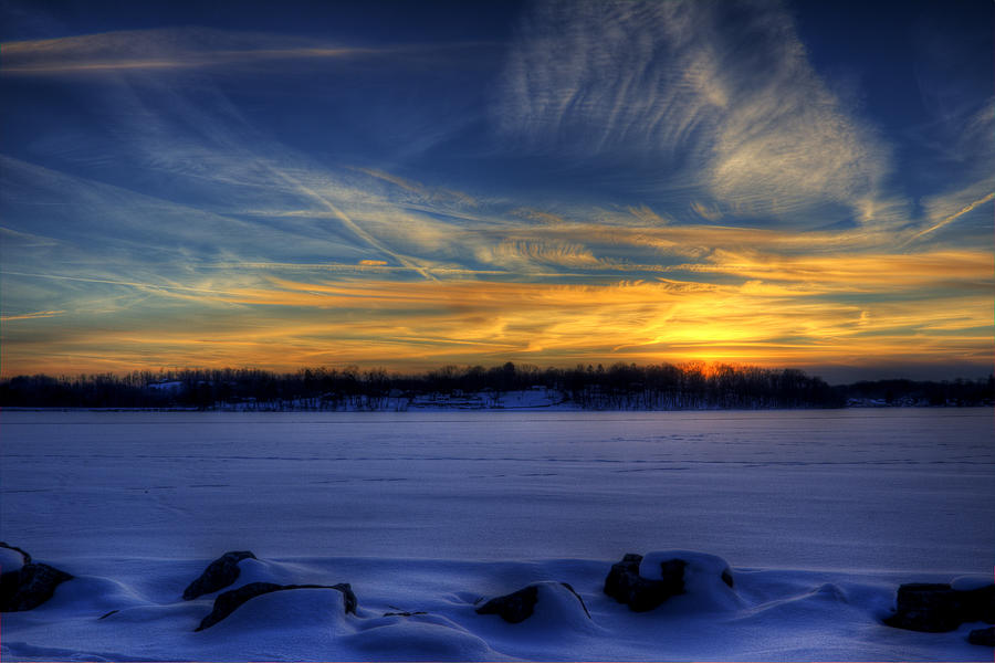 Snow Photograph - Winter Sunset by David Dufresne