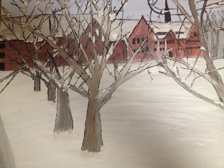 Winter Painting - Winter University by Paula Brown