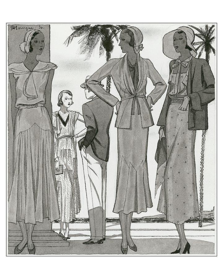 Women Wearing Designer Dresses Digital Art by Pierre Mourgue