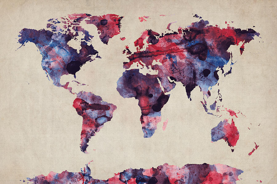 Map Of The World Digital Art - World Map Watercolor by Michael Tompsett