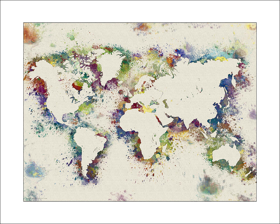 World Map Watercolor Digital Art By WaterColorMaps Chris And Mary Ann