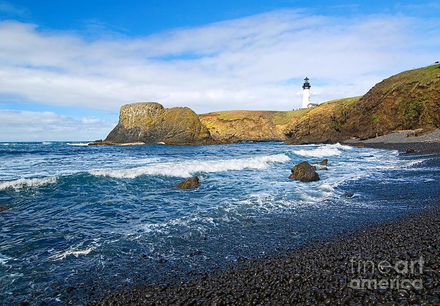 Coast Photograph - Yaquina Lighthouse On Top Of Rocky Beach by Jamie Pham