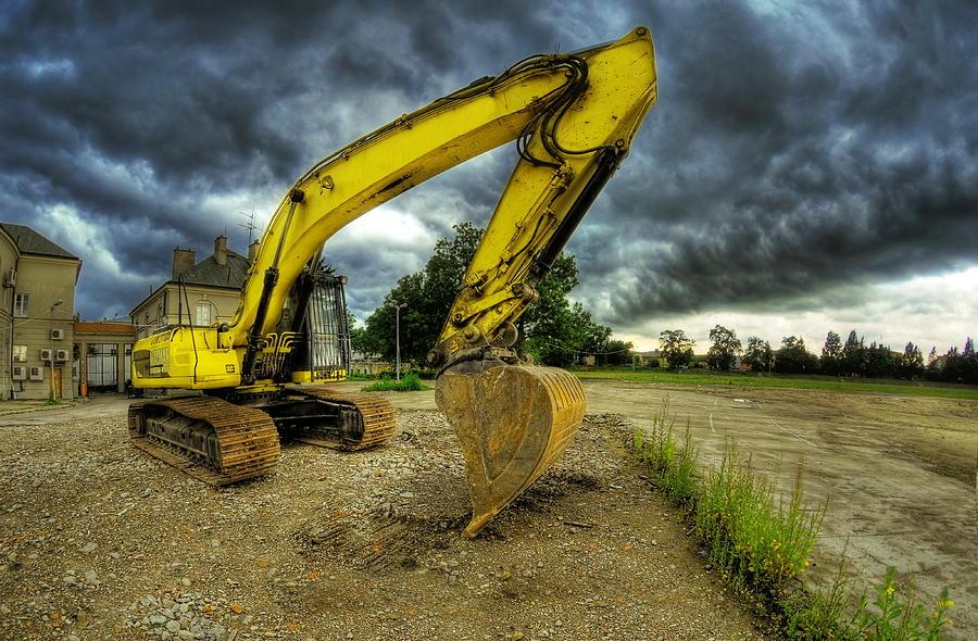 Big Photograph - Yellow Excavator by Jaroslaw Grudzinski