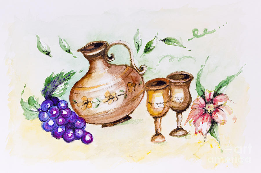 Drinks Painting - Young French Wine  by Irina Gromovaja
