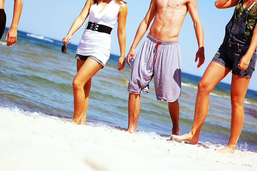 Attractive Photograph - Young Friends On The Summer Beach by Michal Bednarek