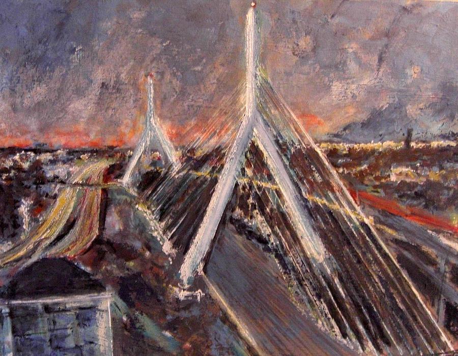 Boston Painting - Zakim Twilight by Romina Diaz-Brarda