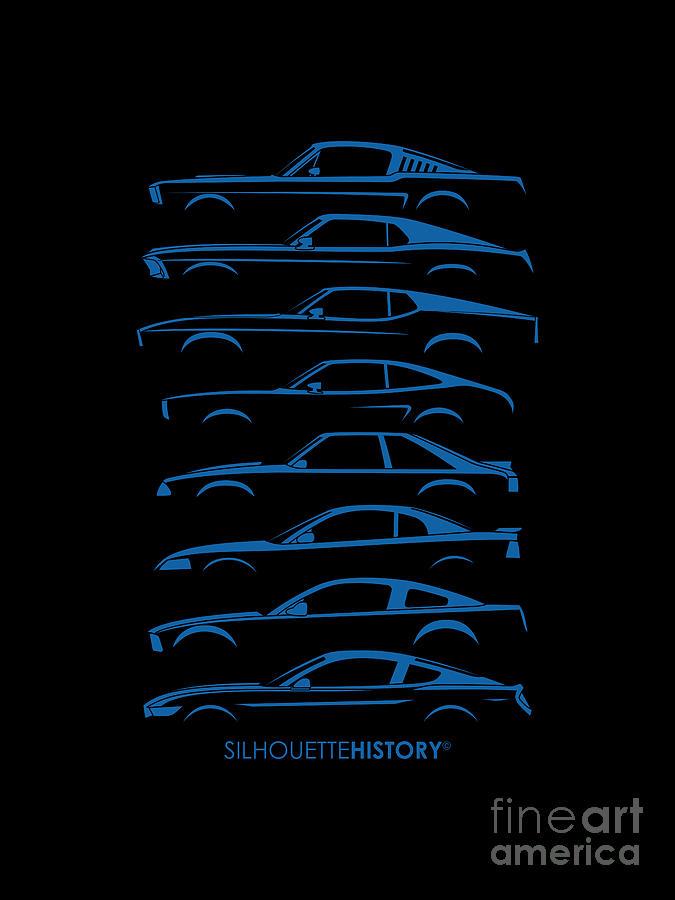 Ford Mustang Digital Art - American Stallion Silhouettehistory Blue by Gabor Vida