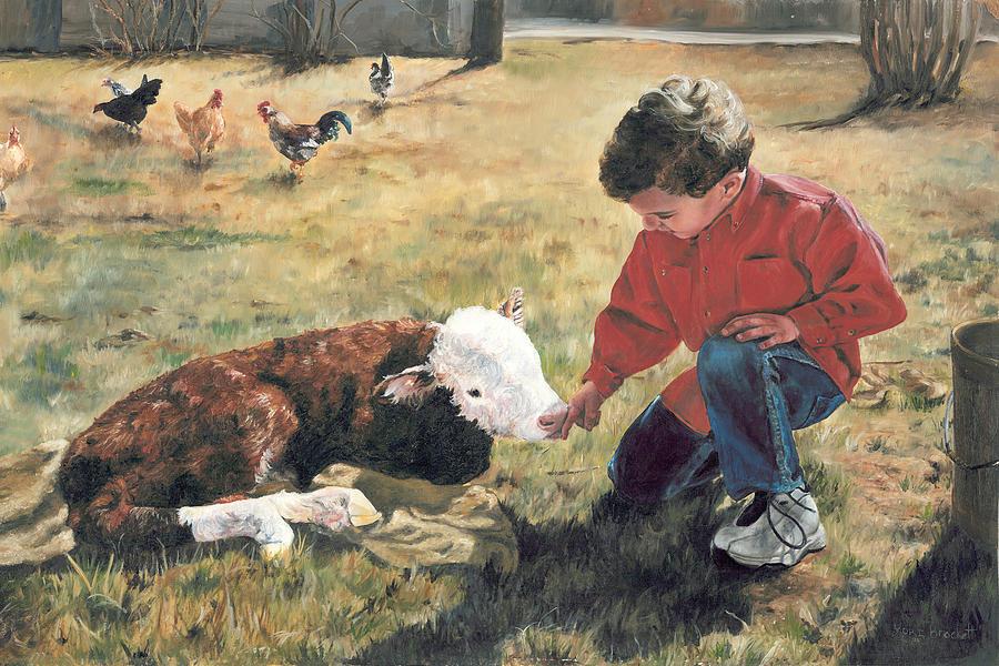 Calf Painting - 20 Minute Orphan by Lori Brackett