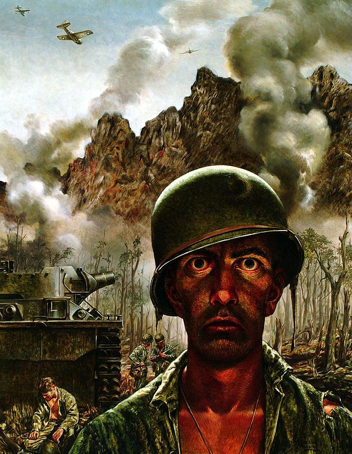 World War Ii Painting - 2000 Yard Stare by Mountain Dreams