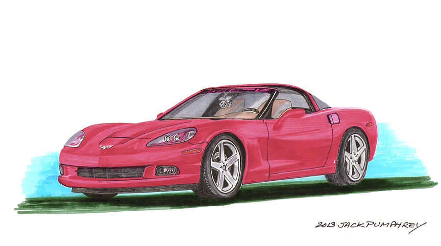 Watercolor Art By Jack Pumphrey Of The 2007 Chevrolet Corvette C 6 Which Is A Sports Car Produced By The Chevrolet Division Of General Motors Introduced For The 2005 Model Year Painting - 2007 Corvette C 6 by Jack Pumphrey