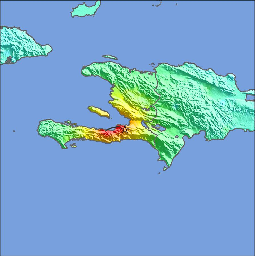 North America Photograph - 2010 Haiti Earthquake Intensity Map 2010 by Us Geological Survey/science Photo Library