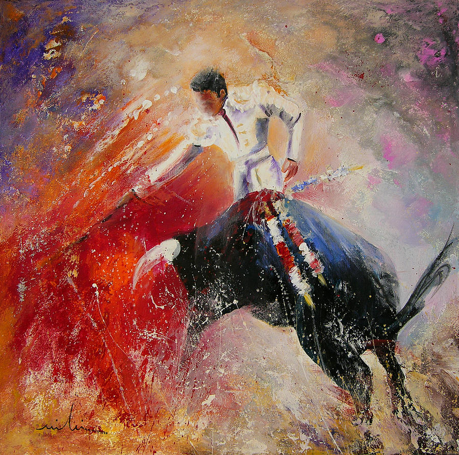 Animals Painting - 2010 Toro Acrylics 05 by Miki De Goodaboom