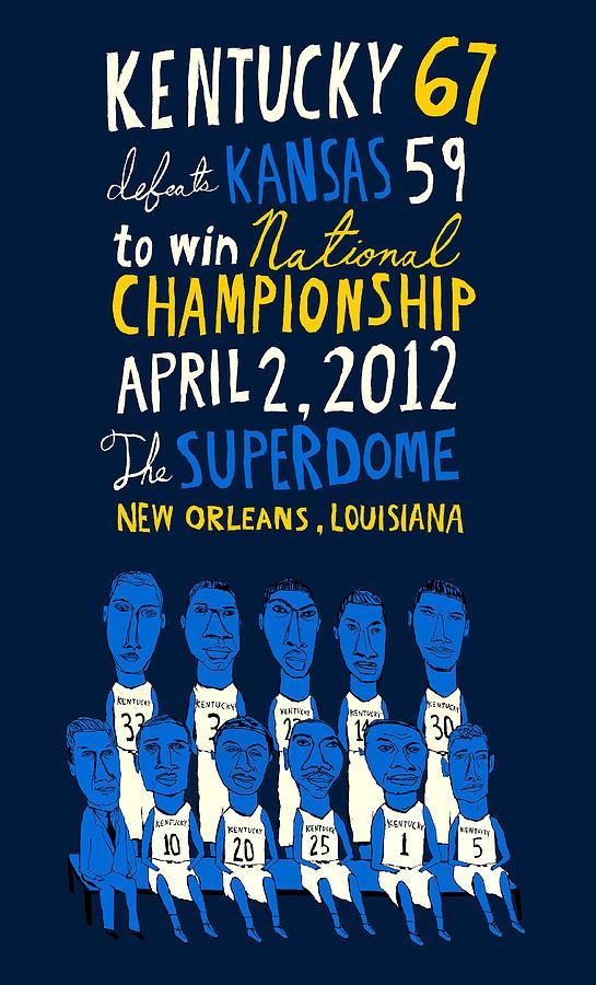 2012 Mixed Media - Kentucky Wildcats Basketball 2012 National Championship by JB Perkins