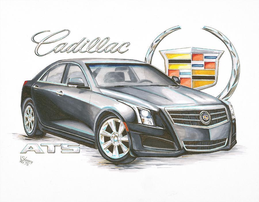 2013 Cadillac Ats Drawing By Shannon Watts
