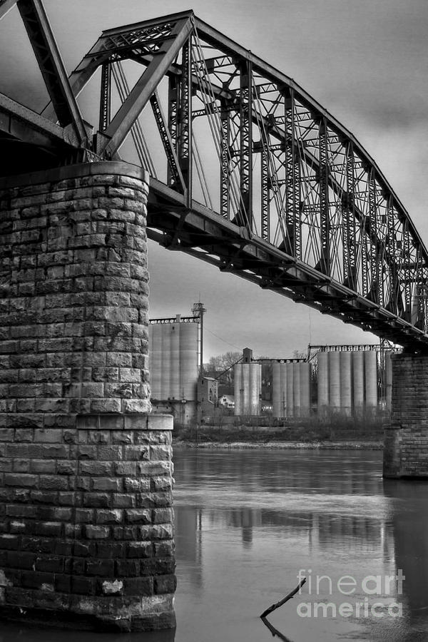 Railroad Bridge And Elevators At Glasgow, Mo. Photograph