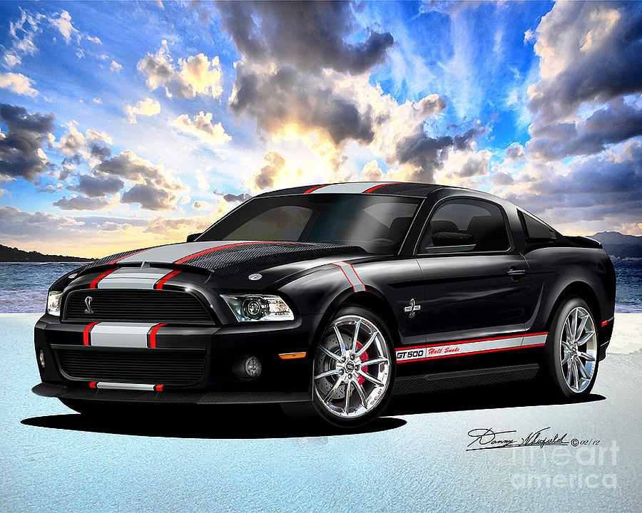 2013 Mustang Shelby Hell Snake Drawing by Danny Whitfield