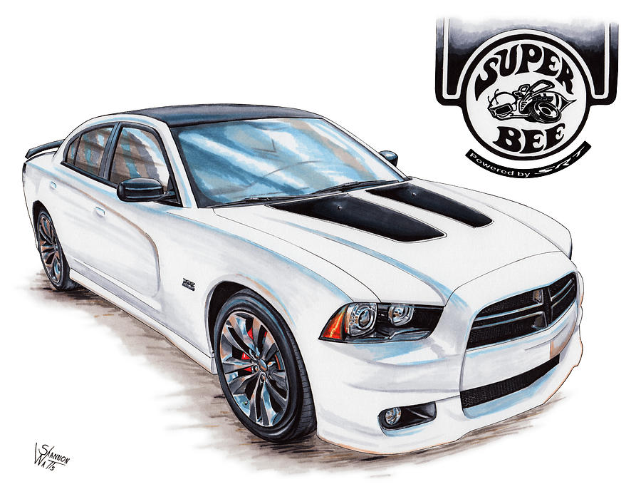 2014 Dodge Charger Super Bee Drawing By Shannon Watts
