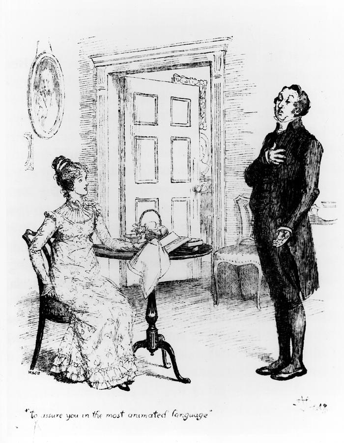 Austen Drawing - Scene From Pride And Prejudice By Jane Austen by Hugh Thomson