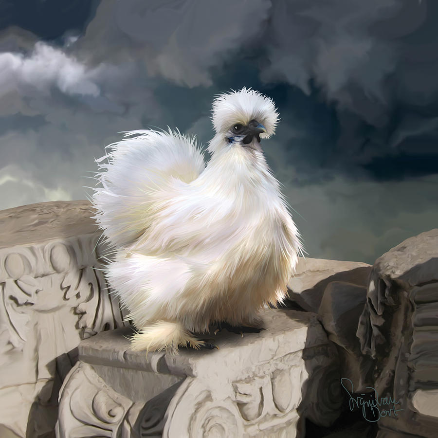 Chicken Digital Art - 21. Silkie Akropolis by Sigrid Van Dort