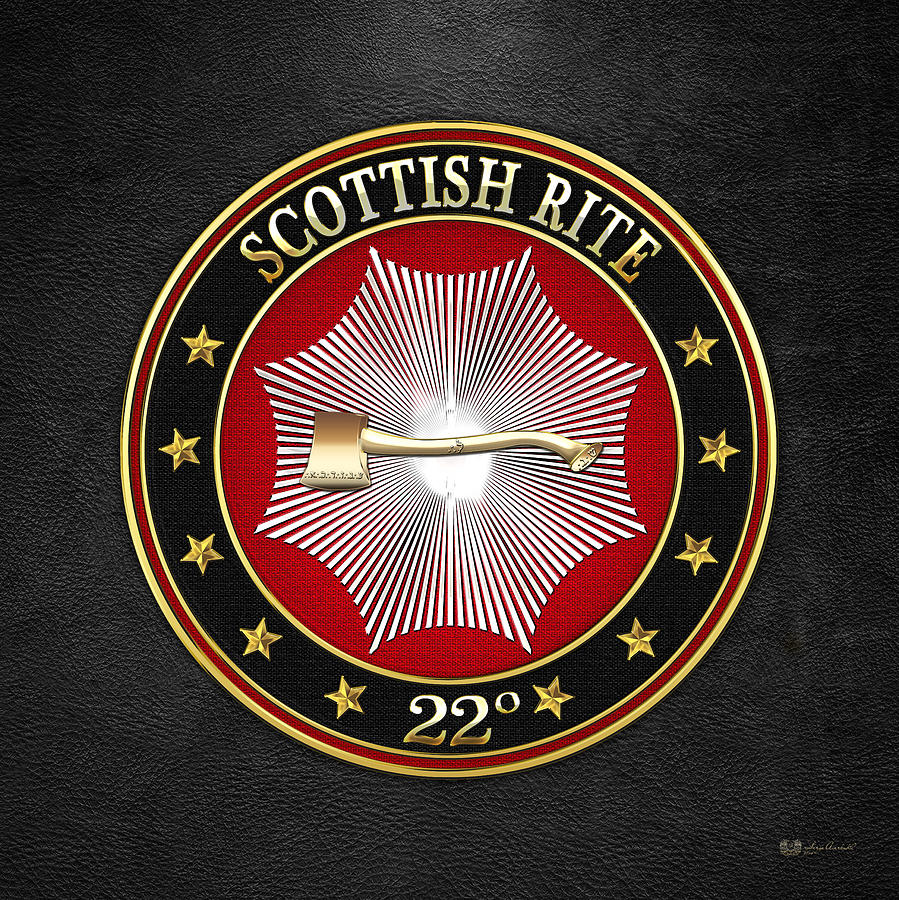 Scottish Rite Digital Art - 22nd Degree - Knight Of The Royal Axe Jewel On Black Leather by Serge Averbukh